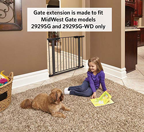 """MidWest Steel Pet Gate Extension; Pet Gate Extension Measures 3"""" Wide x 29"""" High in Textured Grahite (Fits MW Model # 2929SG & 2929SG-WD)"""