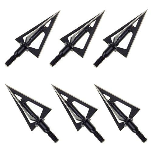 (LiuMing 6pcs Compound Bow and Crossbow 3 Blade Archery Broadheads 100 Grain Fixed Arrow Head Tips)