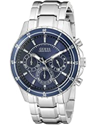 GUESS Mens U0676G2 Sporty Silver-Tone Stainless Steel Watch with Chronograph Dial and Deployment Buckle
