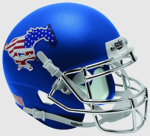 (Schutt Southern Methodist (SMU) Mustangs Full XP Replica Football Helmet Chrome Blue - NCAA Licensed Gift)