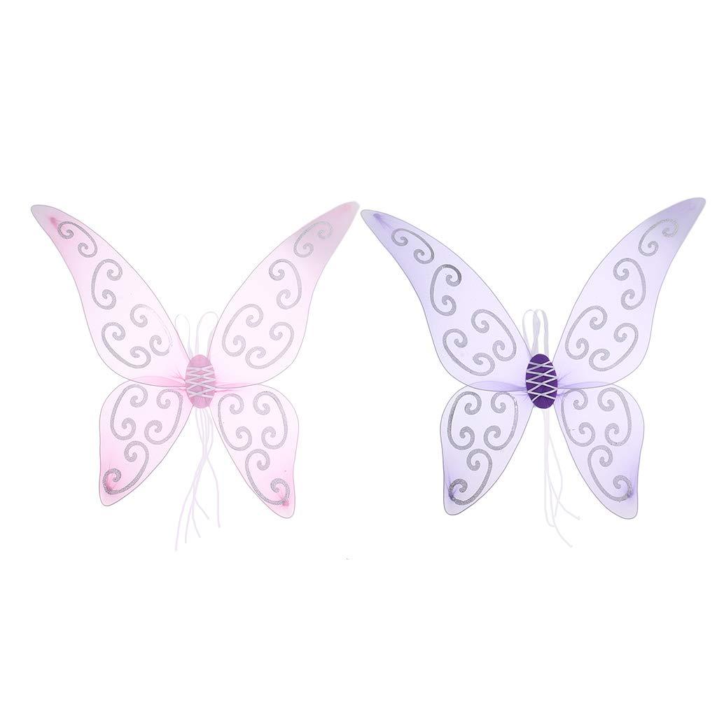 Homyl Pack of 2 Girls' Glitter Butterfly Fairy Wing Angel Elf Princess Fancy Dress Costume