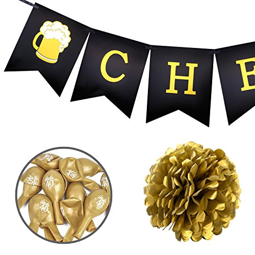Konsait 40th Birthday Decoration Cheers To 40 Banner Number Foil Balloons Large Hello Black And Gold