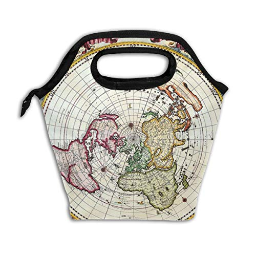 (Wucancanbb World Map Black Lunch Tote,Thick Reusable Insulated Thermal Lunch Bag Lunch Box Carry Case Handbags Tote with Zipper for Adults Kids Nurse Teacher Work Outdoor Travel Picnic)