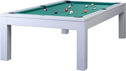 Mesa de billar modelo OLIVIA 7 pies/con bandeja de 19 mm, aproximadamente 280 kg en colour blanco y verde de tela: Amazon.es: Deportes y aire libre