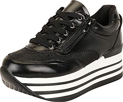 Cambridge Select Women's Retro 90s Low Top Lace-Up Stripe Chunky Platform Fashion Sneaker,6 B(M) US,Black