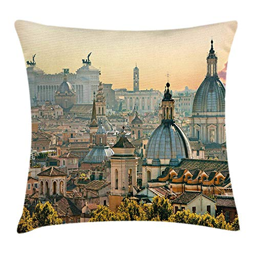 City Throw Pillow Cushion Cover, View of Rome from Castel Sant'Angelo Italy Historical Landmark Vatican, Decorative Square Accent Pillow Case, 18 X 18 Inches, Pale Salmon Ivory Green ()