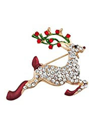 Charmed Craft Christmas Reindeer Brooch Pins Xmas Gifts White Crystal Brooches Jewelry