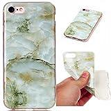iPhone 6 Plus / 6s Plus 5.5 Inch Case, JIEJIEWYD TPU Silicone Gel Soft Clear Case Cover & Marble Design - green jade