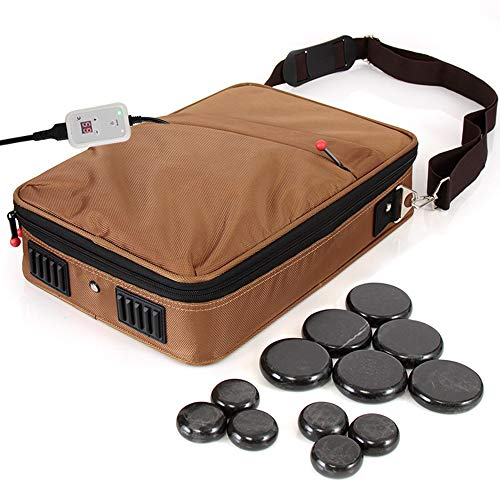 Set Conversion 86 (Portable Massage Stone Warmer Set - Electric Spa Hot Stones Massager and Heater Kit with 6 Large and 6 Small Round Shaped Basalt Massaging Rocks, Digital Controller Heating Bag - SereneLife PSLMSGST40)