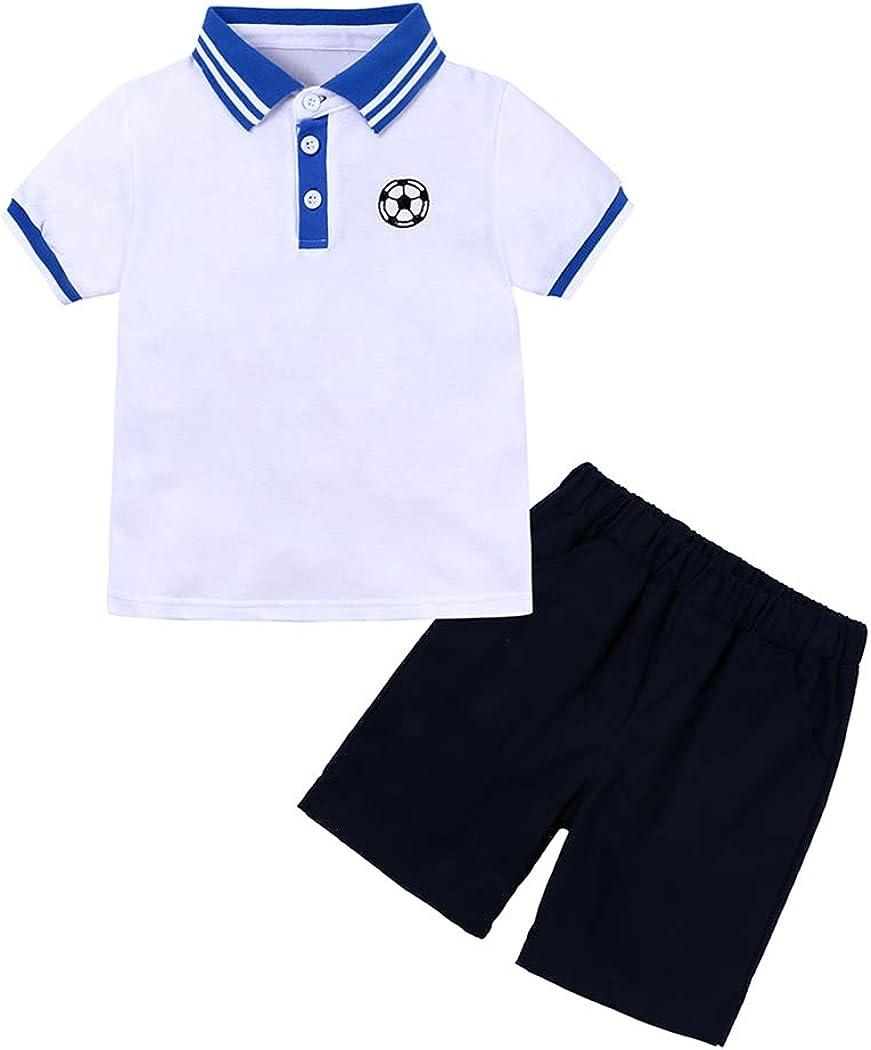 Little Boys Summer 2Pcs Polo Shirt Outfit Set Short Sleeve Tee Elastic Shorts