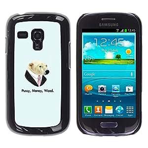 EJOY---Cubierta de la caja de protección la piel dura para el / Samsung Galaxy S3 MINI 8190 / --Coño Money Weed Oso