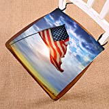 Custom American Flag Seat Cushion Chair Cushion Floor Cushion Twin Sides 16x16 inches