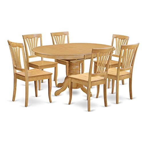 East West Furniture AVON7-OAK-W 7 Piece Dinette Table and 6 Chairs Set (Carved Oval Extension Table)