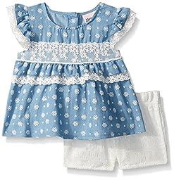 Little Lass Baby Girls\' 2 Pc Puff Print Short Set, Light Blue, 24M
