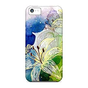 LJF phone case OJymGtQ4195FYTaf Faddish Flower Watercolor Case Cover For Iphone 5c