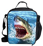 3D Shark Print Insulated Lunch Bags For Kids Animal Pattern Lightweight Lunch Box LB-C803G