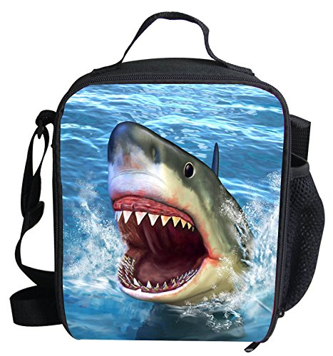 3D Shark Print Insulated Lunch Bags For Kids Animal Pattern Lightweight Lunch Box LB-C803G by Collect Beauty