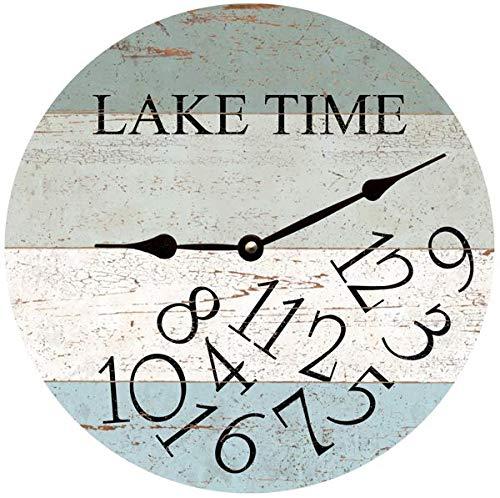 LAKE TIME Clock- Four Color Whatever Lake Time Clock (Clock Lake Time Wall)