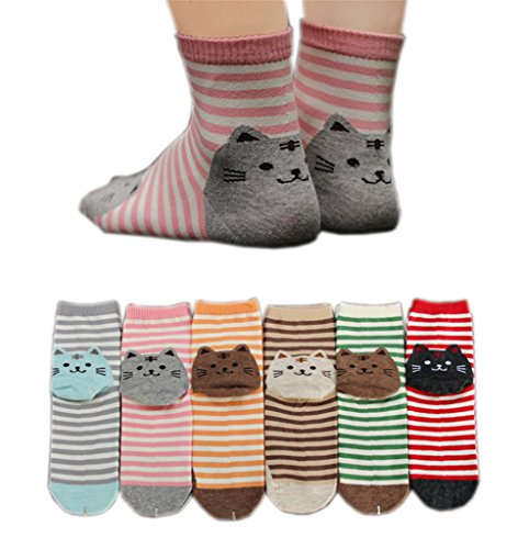 AnVei-Nao Womens Girls Stripe Cute Cat Cotton Soft Pattern Crew Socks 6 Pairs 51iUPr2RbEL