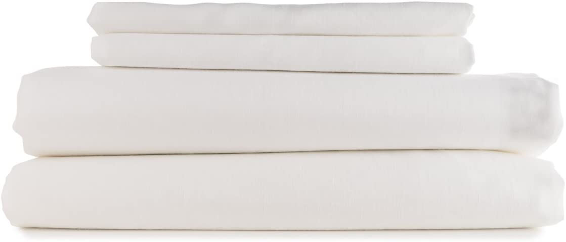 European Made Pure Linen Sheets Set (Flat, Fitted and 2 Pillowcases). 100% Fine Organic and Natural Flax (Full, White)