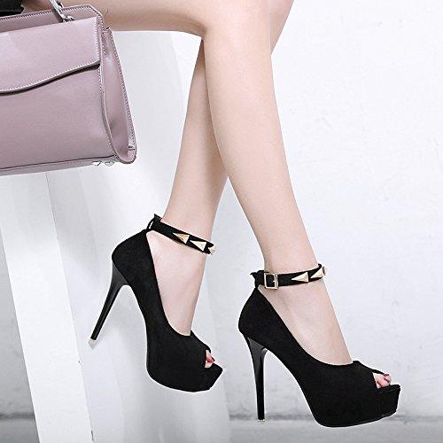 noche decorativo sexy solo boquilla el alta como calidad un versión black de alta zapatos de satinado la coreana de ZHZNVX que Heel se metal de pescado Shoes Especialmente lattice qStwtU7p