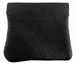 North Star Men\'s Leather Squeeze Coin Pouch Change Holder 3.25 X 3 X 0.25 Inches Black