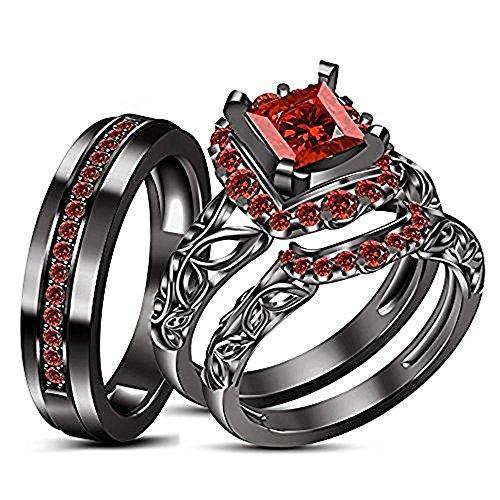 Dabangjewels 2.25ct Princess Cut Red Garnet Stone 18K Black Gold FN Alloy His & Her Trio Ring ()