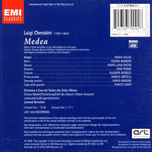 Cherubini: Medea (complete opera live 1953) with Maria Callas, Fedora Barbieri, Leonard Bernstein, Orchestra & Chorus of La Scala, Milan by EMI Classics