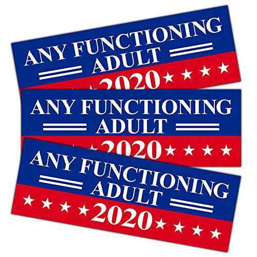 Bumper Reflective - Anley 9 X 3 inch Any Functioning Adult 2020 Decal - Car and Truck Reflective Bumper Stickers - 2020 United States Presidential Election (3 Pack)