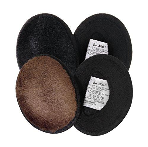 2 Pack Ear Mitts Bandless Warm Faux Fur Ear Muffs, Black & Brown Mink, Regular (Mitts Bandless Ear)