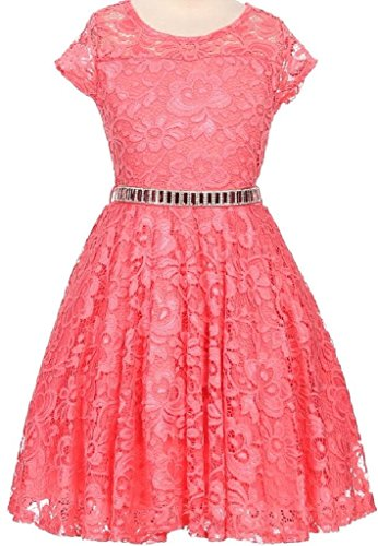 [Little Girl Cap Sleeve Lace Skater Stone Belt Flower Girls Dresses (19JK88S) Coral 4] (Romantic Bridals Flower Girl Dress)