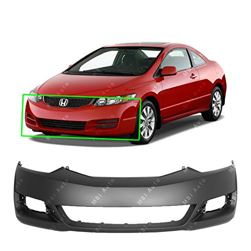 MBI AUTO - Primered, Front Bumper Cover Fascia for 2009 2010 2011 Honda Civic Coupe 09 10 11, - Coupe 2010