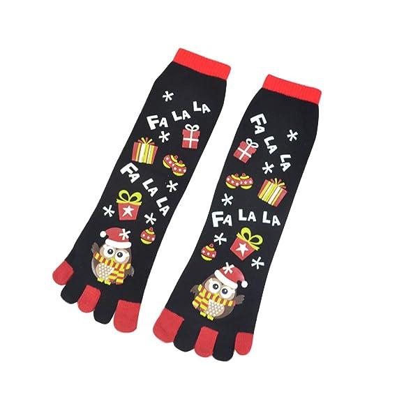 aaerp Calcetines festivos de Navidad, calcetines de cinco dedos, hombres y mujeres, otoño e invierno, decoración navideña: Amazon.es: Ropa y accesorios
