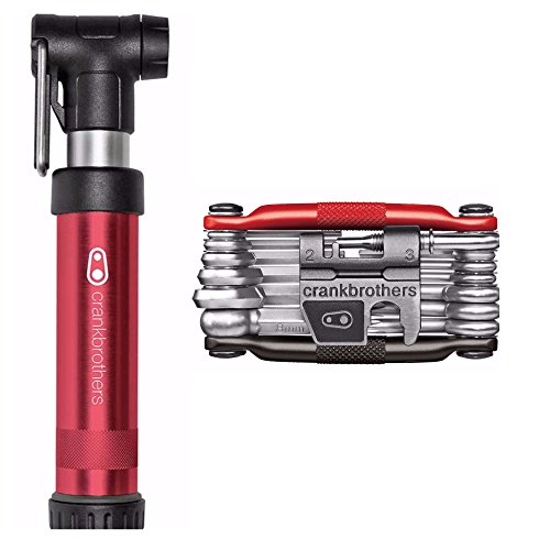 CRANKBROTHERs Crank Brothers M19 Multi Bicycle Tool (19-Functions), Red/Black, and Gem Short Frame Bike Pump - Tool Brothers 10 Multi Crank