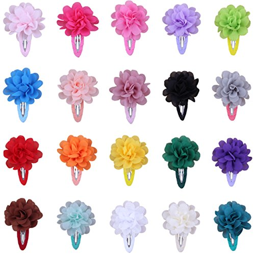 Qandsweet Girls Hair Clip with Flower Colourful Barrettes Hair Accessories (20Pcs Chiffon Flower)