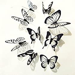Staron 3D Butterfly Wall Sticker, 36pcs Black White Butterfly Wall Sticker Decal Bedroom Vinyl Art Mural Home Decor Wall Art Wall Sticker Home Decoration (36pcs)