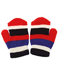 Childrens/Kids Little Girls Striped Winter Magic Mittens (One Size) (Red/Navy)