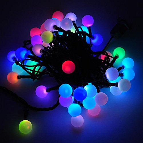 led color changing linkable 16 feet christmas light string with 50 rgb globes x070rgb - Christmas Lights That Change Color