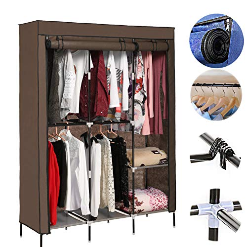 Tomasar Portable Closet Zipper Clothes Closet Wardrobe Closets Bedroom for Hanging Clothes (US Stock) (Chocolate) (Best Portable Clothes Closet)