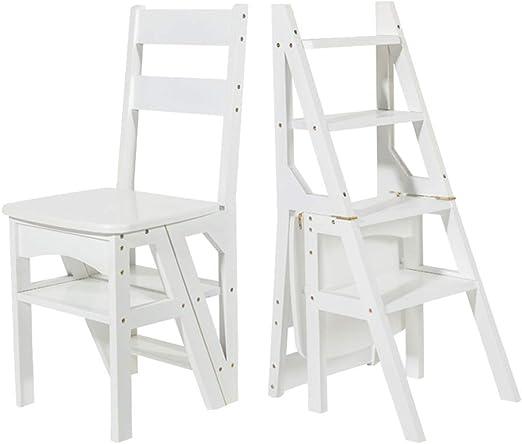 Silla de Escalera de Escalera de Tijera Ascendente transformante de 4 Pasos, Escalera de Paso Multifuncional Plegable de bambú, Taburete de Escalera de Madera de Interior para Adultos: Amazon.es: Hogar