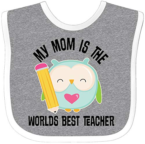 Inktastic - Teacher Mom School Owl Baby Bib Heather/White 25028 ()