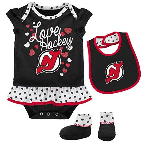 Little Devil Bib - Outerstuff NHL New Jersey Devils Newborn & Infant Love Hockey Bib & Bootie Set, 6-9 Months, Black