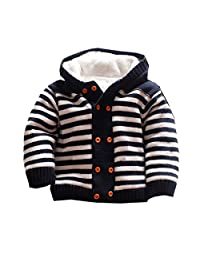 Canvos Baby Toddler Boys Girls Striped Sweaters Winter Warm Outerwear