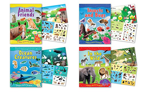 - B-KIDS Children's Sticker Activity Books Each Containing Over 70 Reusable Stickers, Ocean Life, Insects, Lions, Horse Stickers, Farm Animals, Pack of 4