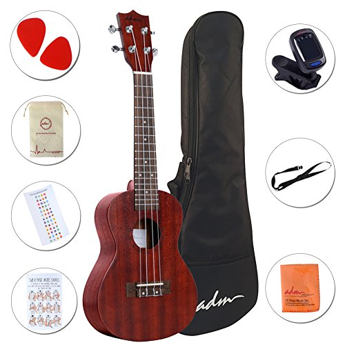 ADM 23 Inch Ukulele Concert Professional Starter Small Guitar Bundle with Gig Bag, Tuner, Fingerboard Sticker, Strap