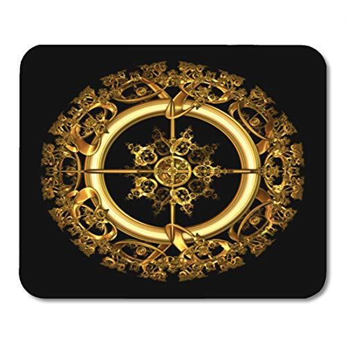 Semtomn Gaming Mouse Pad Yellow of Elegant Antique Gold Filigree in Circular Shape 9.5
