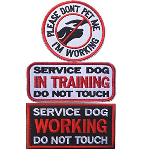 (Service Dog In Training Do Not Touch,I'm Working Please Don't Pet Me Dog Patches Emblem Embroidered Fastener Hook & Loop Tactical Military Morale Patches Appliques for Harnesses Vests-Bundle 3 PCS )