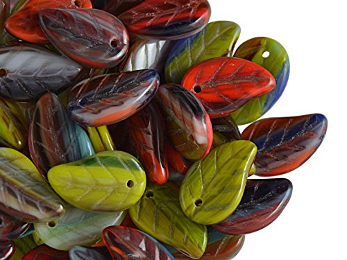 Pressed Leaf Beads - 20pcs 9x14mm Leaves Pressed Glass Czech Beads, Multicolored