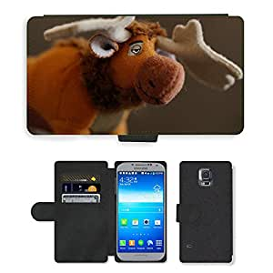 Hot Style Cell Phone Card Slot PU Leather Wallet Case // M00116573 Moose Ice Princess Nordic Sven // Samsung Galaxy S5 S V SV i9600 (Not Fits S5 ACTIVE)