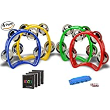 Mini Plastic Musical Percussion Tambourine Cutaway Tambourine Half Blossom with 4 Jingles Orff Teaching Toys (Tambourine)